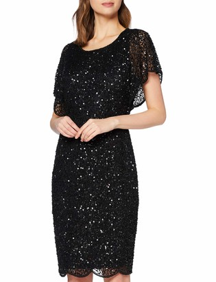 Adrianna Papell Women's Fully Beaded Cocktail Flutter Sleeves Special Occasion Dress