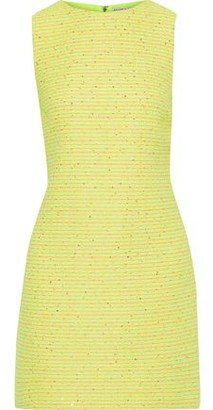 Alice + Olivia Clyde Sequin-embellished Neon Boucle-tweed Mini Dress