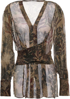 Brunello Cucinelli Tie-back Printed Silk-georgette Blouse