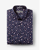 Express slim fit floral print long sleeve cotton dress shirt