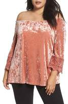 Daniel Rainn Plus Size Women's Off The Shoulder Crushed Velvet Top