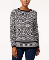 Karen Scott Cotton Printed Sweater, Created for Macy's
