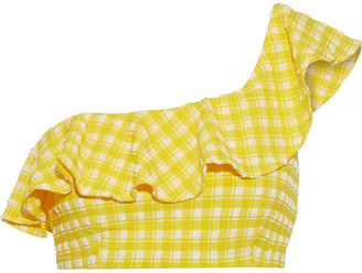 Ganni One-shoulder Ruffled Gingham Seersucker Bikini Top