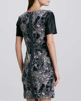 Cut25 Printed Leather-Sleeve Dress