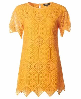 Juicy Couture Black Label Women's Menara Lace Short-Sleeve Dress - Yellow - Large