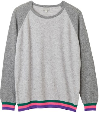 Cove Carmen Grey Cashmere Jumper With Neon Stripes