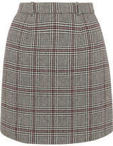 Carven Checked Wool-blend Mini Skirt - Gray