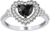 JCPenney FINE JEWELRY Midnight Black Diamond 1 CT. T.W. Black & White Diamond Heart Ring In 10K White Gold