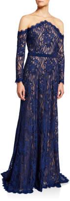 Tadashi Shoji Long-Sleeve Lace Illusion Gown