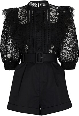 Self-Portrait Ruffled Lace-Trimmed Playsuit