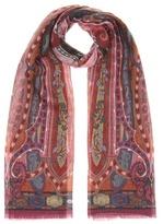 Etro Printed wool scarf