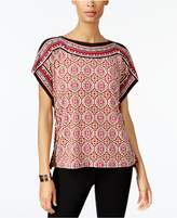 JM Collection Embellished Mixed-Print Top, Created for Macy's