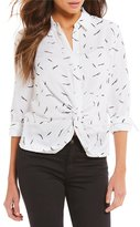 Gianni Bini Cullen Feather Printed Twist Front Button Down Blouse