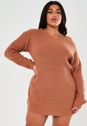 Missguided Plus Size Brown Off The Shoulder Sweater Dress