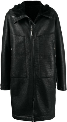 Isaac Sellam Experience Hooded Pebbled-Effect Leather Coat