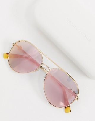 Marc Jacobs aviator sunglasses in gold with pink lens