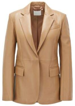 BOSS Regular-fit tailored jacket in plonge leather
