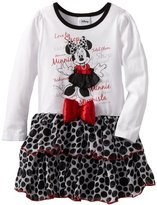 Disney Girls 2-6X Minnie Mouse Long Sleeve Dress With Bow And 3D Skirt