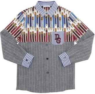 Dolce & Gabbana Pencil Print Stretch Cotton Poplin Shirt