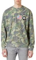 Topman Men's Camo Print Badged Sweatshirt