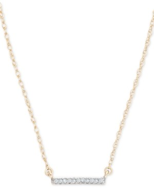 """Elsie May Diamond Accent Bar Pendant Necklace in 14k Gold, 15"""" + 1"""" extender, Created for Macy's"""