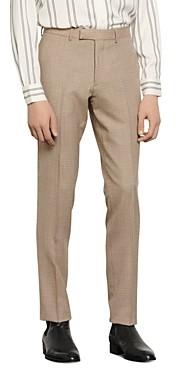 Sandro Slim-Fit Havana Micro-Check Suit Pants