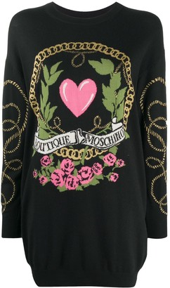 Boutique Moschino Logo Embroidered Jumper Dress