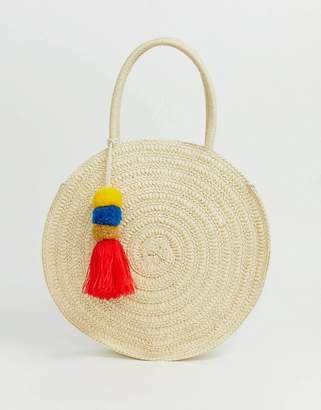 South Beach structured round straw beach bag with pom pom tassel-Cream