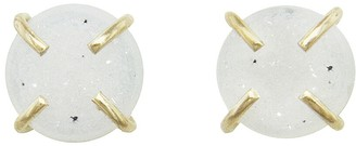 Melissa Joy Manning White Druzy Stud Earrings - Yellow Gold