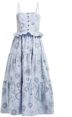 Ganni Over The Moon-print Cotton-poplin Midi Dress - Womens - Blue