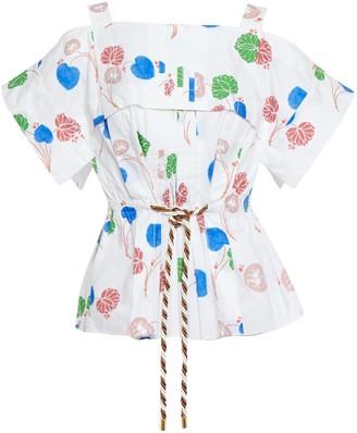 Peter Pilotto Cold-shoulder Pleated Floral-print Cotton-poplin Peplum Blouse