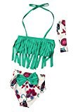 AMA(TM) 3Pcs Toddler Kids Baby Girls Summer Tankini Bikini Set Swimsuit Swimwear Bathing Suit Beachwear (2T, Green)