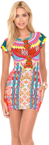 Luli Fama Chasing Waterfalls Short Sleeve Body-Con Dress in Multicolor (L446935)