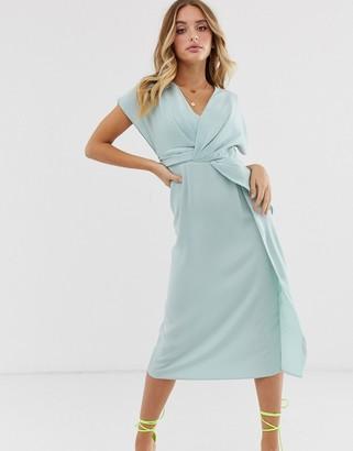 Asos Design DESIGN twist and drape front midi dress-Blue