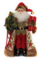 17-Inch Lighted Woodland Embroidery Santa Figurine