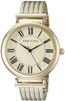 Anne Klein Women's AK/2134CRGB Gold-Tone Mesh Bracelet Watch