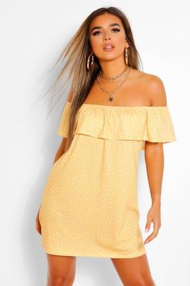 boohoo Petite Polka Dot Off The Shoulder Swing Dress