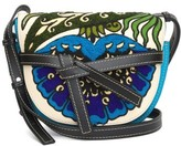 Loewe Gate Floral-embroidered Leather Cross-body Bag - Womens - Blue Multi