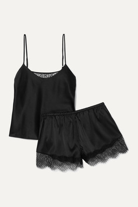 CAMI NYC Perry Lace-trimmed Stretch-silk Charmeuse Pajama Set - Black