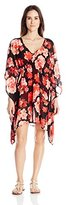 Calvin Klein Women's V-Neck Orchid Chiffon Caftan Cover Up with Packable Pouch