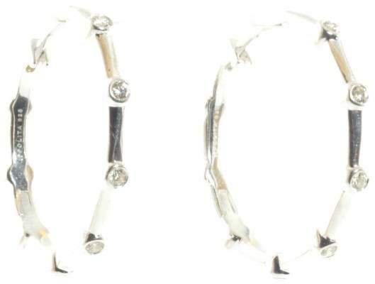 Ippolita Silver Diamond Hoop .925 Sterling Glamazon Hinge Earrings