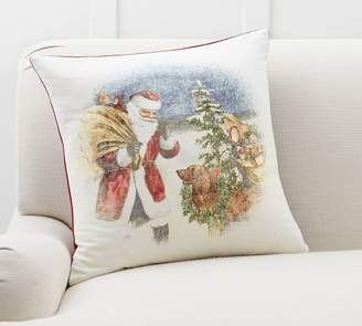 Pottery Barn Nostalgic Santa's Dog Pillow Cover