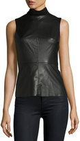 Bailey 44 Faux-Leather Sleeveless Turtleneck Top, Black
