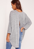 Missguided Split Back Tunic Grey