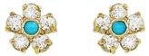 Jennifer Meyer Diamond and Turquoise Flower Stud Earrings
