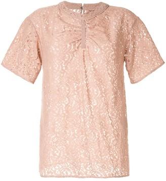 No.21 lace gathered T-shirt
