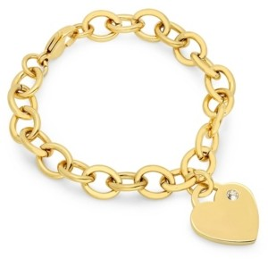 STEELTIME Ladies Stainless Steel 18K Micron Gold Plated Heart Charm Bracelet