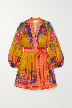 Zimmermann The Lovestruck Printed Linen Wrap Mini Dress - Mustard