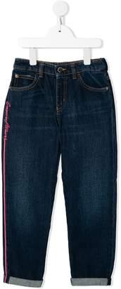 Emporio Armani Kids logo embroidered straight leg jeans