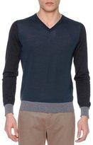 Giorgio Armani Colorblock V-Neck Sweater, Slate/Gray